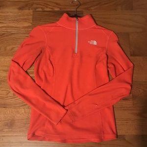 Orange North Face Zip Fleece- Size S